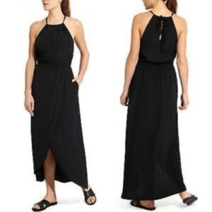 Athleta Black Ripple Maxi Dress Size L